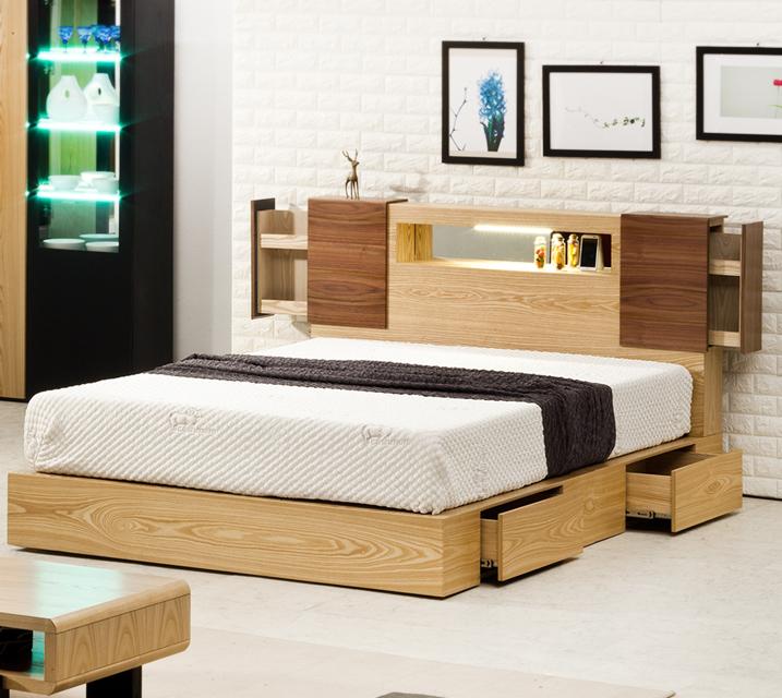 슈타인 LED조명 수납침대 퀸(Q) 침대세트 [독립소프트폼 매트리스 포함] / 월 39,800원