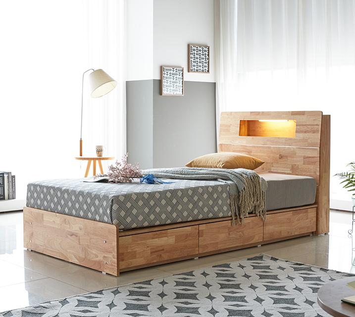 코이 고무나무 LED 3단 서랍 침대 슈퍼싱글 (SS) / 월 25,800원