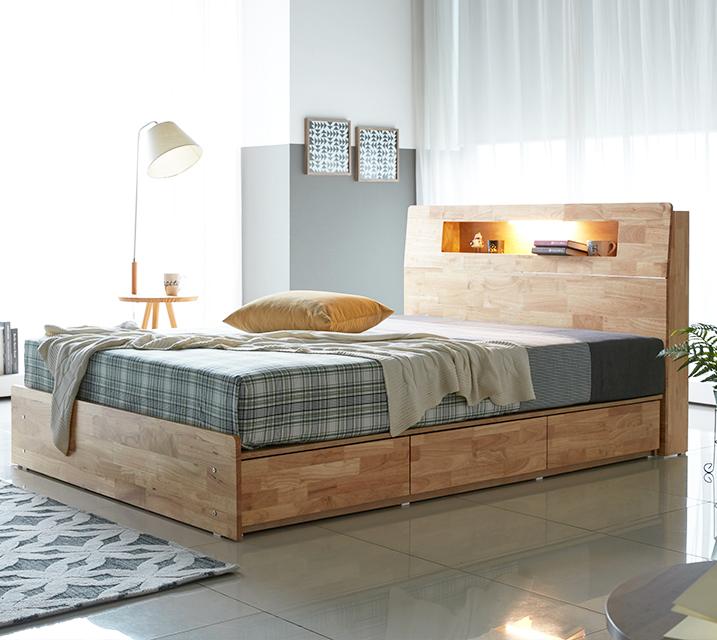 코이 고무나무 LED 3단 서랍 침대 퀸 (Q) / 월 29,800원