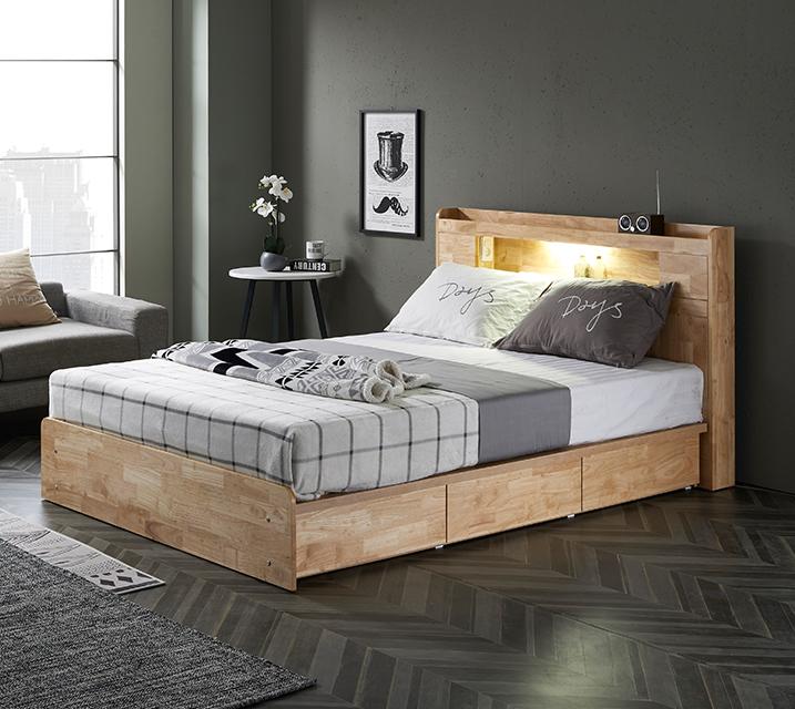 체리 고무나무 LED 3단 서랍 침대 (Q) 침대세트[독립소프트폼 매트리스포함] / 월 33,800원