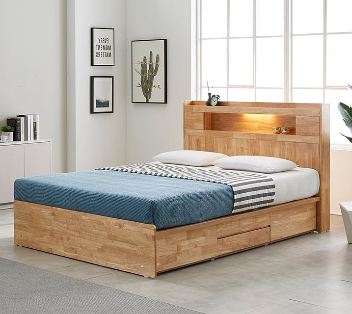 체리 고무나무 LED 4단 서랍 침대 (Q) 침대세트[독립소프트폼 매트리스포함] / 월 35,800원