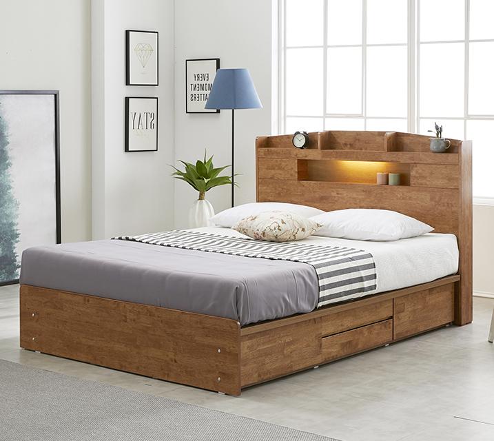 베스 고무나무 LED 4단 서랍 침대 퀸 (Q) / 월 29,800원