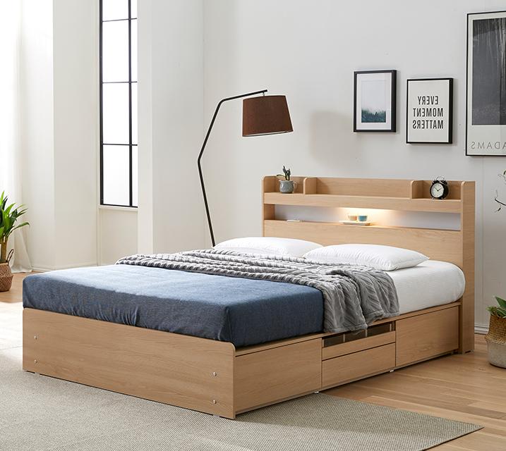디알로 LED 4단 수납 침대 퀸_오크 (Q) 침대세트 [독립소프트폼 매트리스포함] / 월 29,800원
