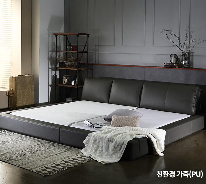 프리모 친환경 가죽  패밀리 침대프레임 Q+SS / 월 63,800원