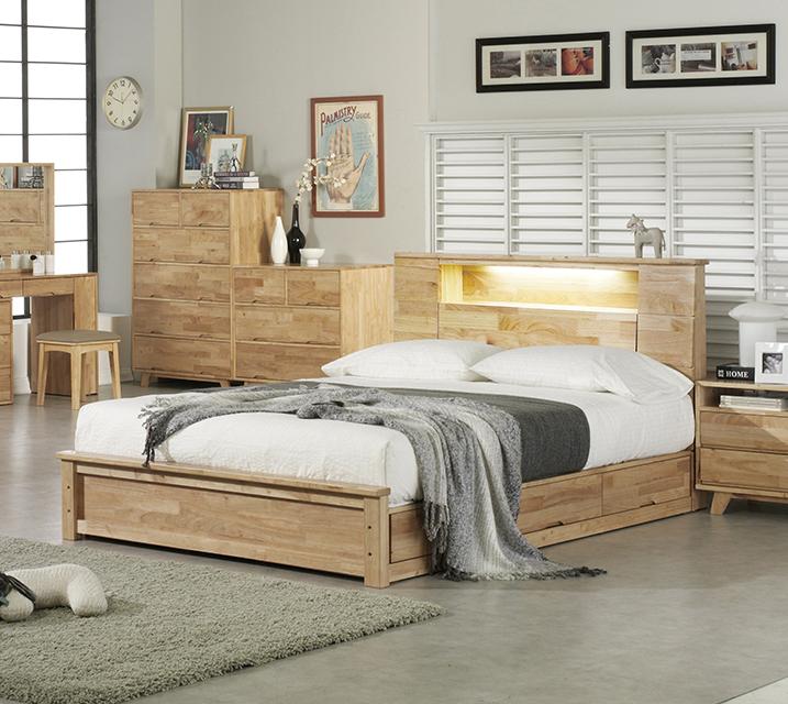 로에 LED 조명 수납형 고무나무 원목 침대프레임 퀸(Q) / 월 39,800원