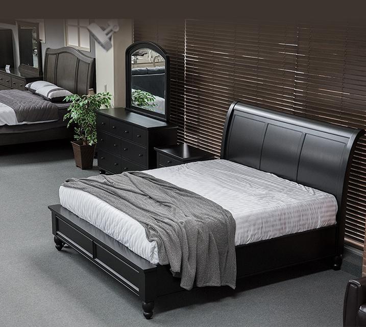 ICB 캠브리지 슬래그 엔틱 침실 Q 세트 - Black [침대프레임+화장대+거울+협탁] / 월 109,800원