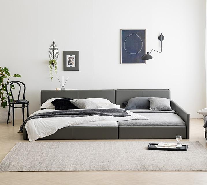 데이지 패밀리 침대 [그레이] Q+Q+PVC 깔판 / 월 27,800원