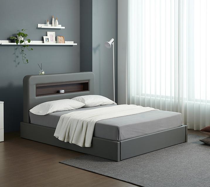 튜베 LED 헤드 수납 가죽 침대 세트 슈퍼싱글(SS) +본넬 매트리스포함 / 월 17,800원
