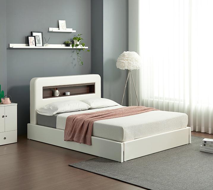 튜베 LED조명 헤드 수납 가죽 침대 세트 퀸(Q) +본넬 매트리스포함  / 월 19,800원