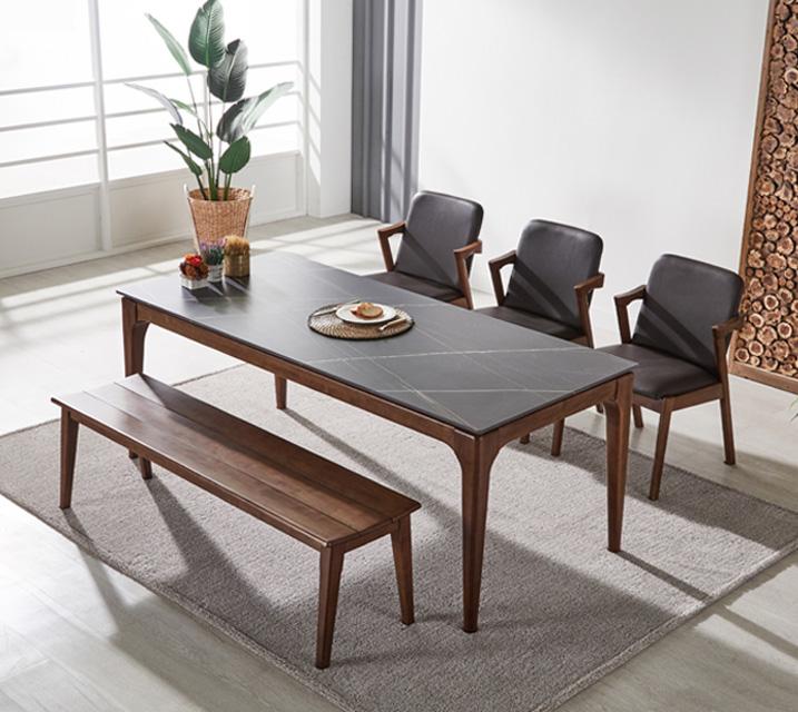 샤비 세라믹 6인 식탁세트 + 의자/벤치포함 (벤치형/벤치1ea+의자3ea)/ 월 55,800원