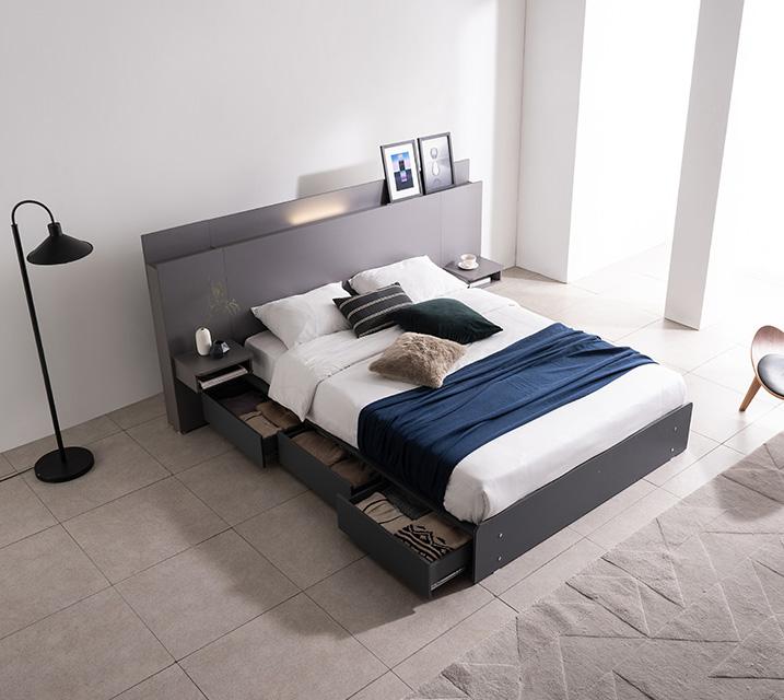 플루멘 LED 3단 수납 침대 킹 (K) 침대세트 [독립매트리스포함, 협탁2ea포함] / 월 61,800원