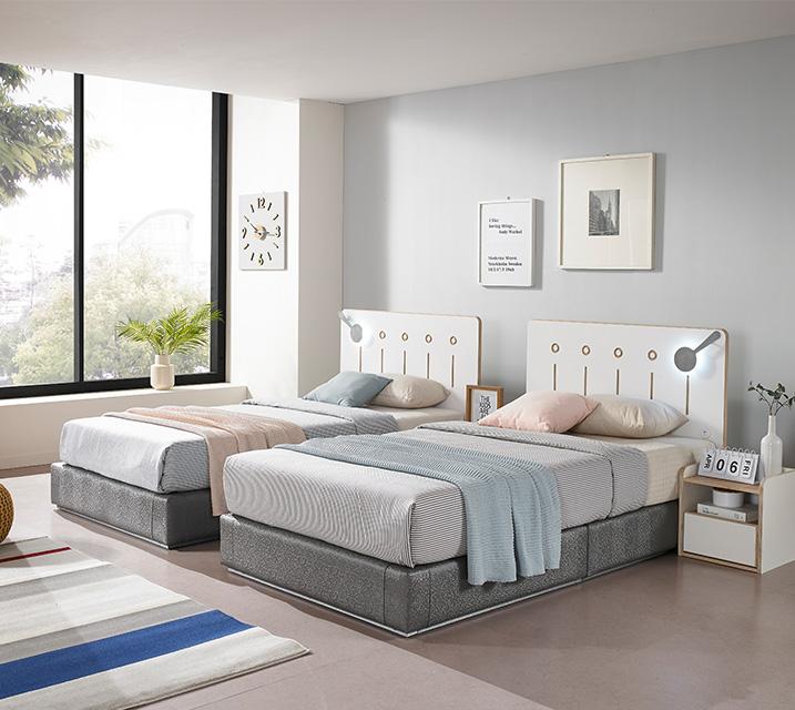 포르투 LED 침대 슈퍼싱글 (SS) 침대세트 [독립매트리스포함, 협탁 미포함] / 월 51,800원