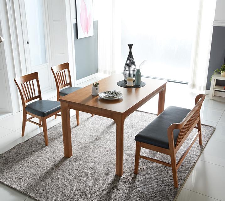 사구나 4인용 원목 벤치형 식탁세트(식탁 1ea, 의자 2ea, 벤치 1ea) / 월 51,800원