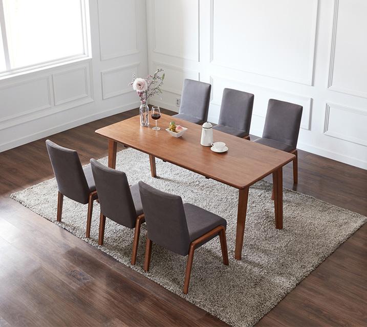 라두 6인용 원목 의자형 식탁세트(식탁 1ea, 의자 6ea) / 월 101,800원