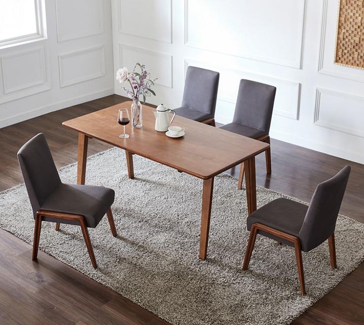라두 4인용 원목 의자형 식탁세트(식탁 1ea, 의자 4ea) / 월 79,800원