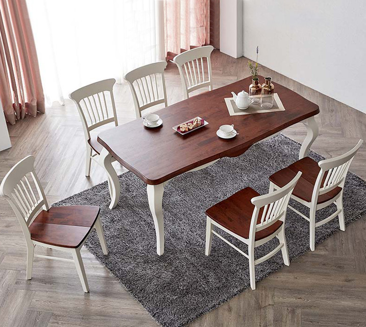 네치 6인용 원목 의자형 식탁세트(식탁 1ea, 의자 6ea) / 월 83,800원