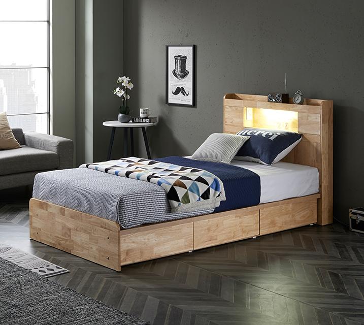 체리 고무나무 LED 3단 서랍 침대 슈퍼싱글 (SS) 침대세트 [독립소프트폼 매트리스포함] / 월 59,800원