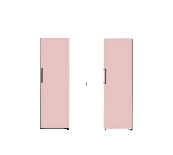[S] LG 결합2종 오브제컬렉션 컨버터블 패키지 냉장고 384L+김치냉장고 324L 핑크 X320GPS+Z320GPS / 월86,000원