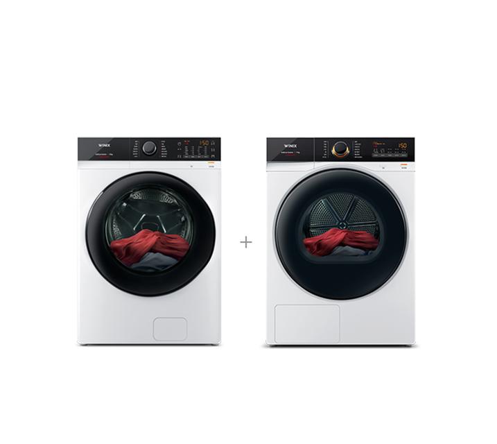 [S] 위닉스 텀블 세탁기 23kg 새틴 화이트+텀블 건조기 17kg 새틴 화이트 TMWE230-KVK+HGXM170-KVK / 월 52,000원