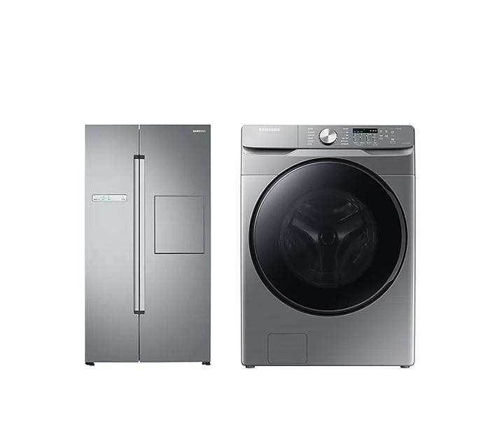 [S] 삼성 양문형냉장고 프리스탠딩 815L 실버 리얼메탈 + 세탁기 21Kg 실버 RS82M6000S8+WF21T6000KP / 월53,500원